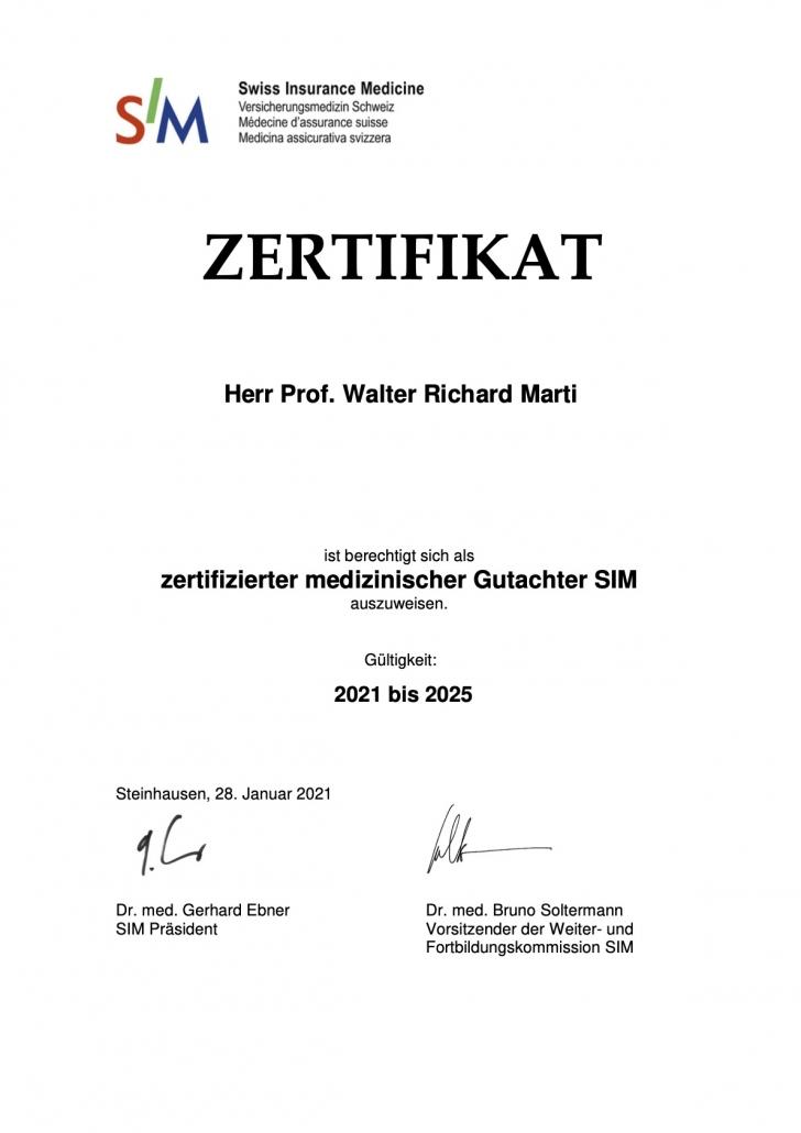 Zertifikat SIM WMarti